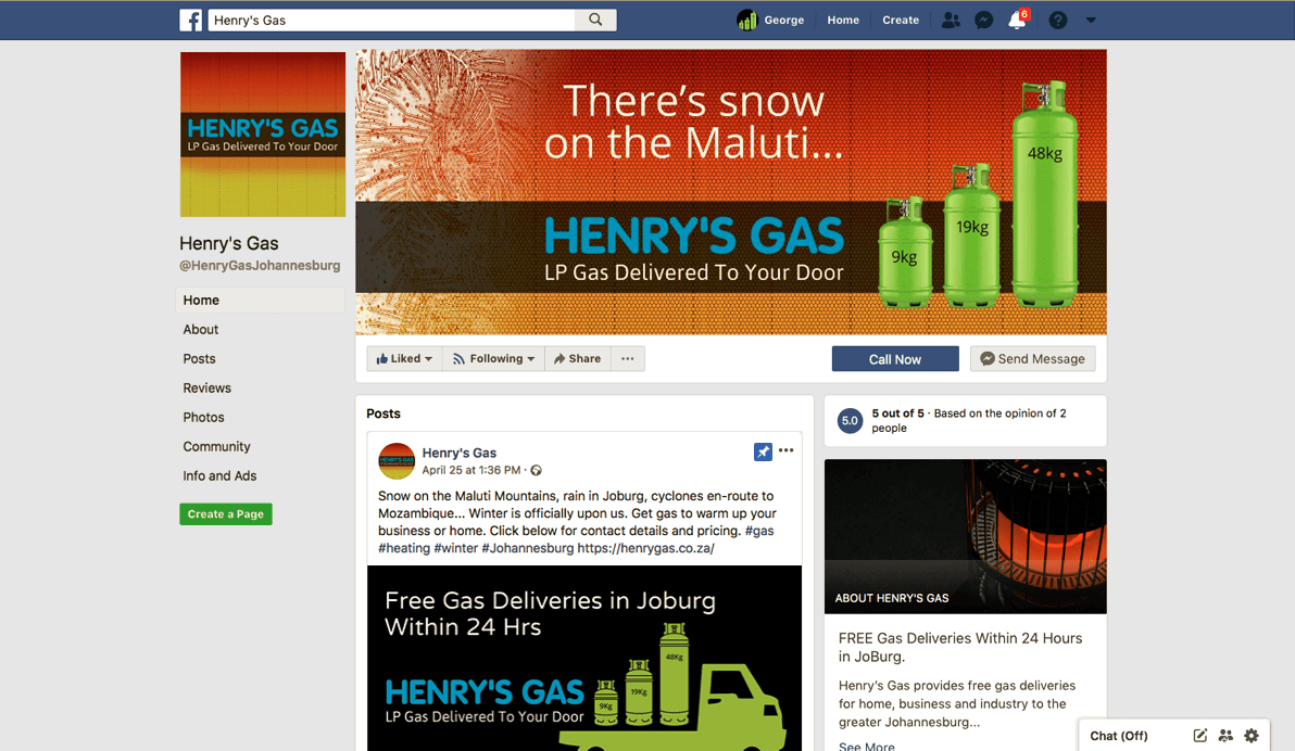 Free Gas Deliveries - Henry's Gas Facebook Page Link